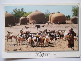 Niger  Greniers En Banco Dans L'Ader Tahoua   Chêvres Goat - Niger
