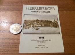 Etiquette Vin Suisse 1983 «RIESLING-SYLVANER - HERRLIBERGER - FRANZ JOSSY - KLOTEN » - White Wines