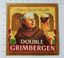 ETIQUETTE BRASSERIE UNION JUMET DOUBLE  GRIMBERGEN IMPORTED NEW JERSEY  USA - Beer