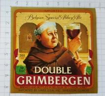 ETIQUETTE BRASSERIE UNION JUMET DOUBLE  GRIMBERGEN IMPORTED ILLINOIS  USA - Beer