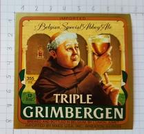 ETIQUETTE BRASSERIE UNION JUMET TRIPLE  GRIMBERGEN IMPORTED ILLINOIS  USA - Beer