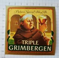ETIQUETTE BRASSERIE UNION JUMET TRIPLE  GRIMBERGEN IMPORTED NEW JERSEY  USA - Beer