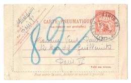 PARIS 85 R. Temple Pneumatique Dest Paris 82 Ob 30 1 1945 Carte Lettre 3 F Chaplain Yv 2607 Storch S1 - Entiers Postaux