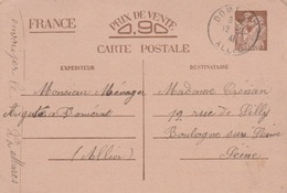 DOMERAT (Allier) : T. à D. / Entier Iris 0,90 - Marcophilie (Lettres)