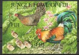2001 Fiji - Djungle Chickens Gallus Gallus - Family With Peackock And Chicks- MS -MNH** MI B 39 (kk) - Fiji (1970-...)