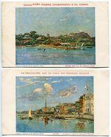 2 CPA Publicitaires Cognac Chabanneau & La Chateline Eau De Table : Nossi-Bé Vu Du Mouillage & Zanzibar Les Quais - Publicité