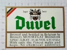 ETIQUETTE BROUWERIJ MOORTGAT BREENDONK DUVEL - Beer