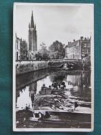 """Belgium 1958 Postcard """"Bruges Bridge Tower"""" To England - Lion - Atomium EXPO 58 - Belgium"""