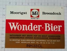ETIQUETTE BROUWERIJ MOORTGAT BREENDONK WONDER BIER - Beer