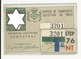 Season Ticket * Passe * Portugal * STCP * 1976 * Rede Geral - Season Ticket