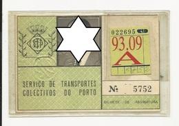 Season Ticket * Passe * Portugal * STCP - Season Ticket