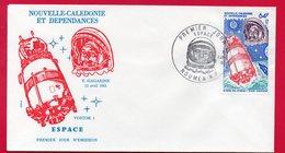 NOUVELLE-CALEDONIE - ENVELOPPE 1er JOUR - FDC - ESPACE - Y.GAGARINE - 08/04/1981 A NOUMEA - 64f - - FDC