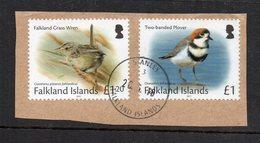 FALKLAND - MALOUINES - 2017 - OISEAUX - BIRDS - FALKLAND GRASS WREN - TWO BANDED PLOVER - Used - Oblitéré - - Falkland