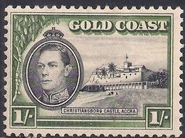 Gold Coast 1938 - 44 KGV1 1/-d  Black & Green Castle Accra MM SG 128 ( J1083 ) - Gold Coast (...-1957)