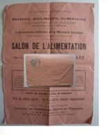 12me EXPOSITION INTERNATIONALE 1909 SALON DE L'ALIMENTATION  GRAND PALAIS,  Timbre Type Blanc Cachet  Paris 1900 - Marcofilie (Brieven)
