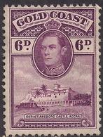 Gold Coast 1938 - 44 KGV1 6d Purple Castle Accra Unused No Gum SG 126 ( H1264 ) - Gold Coast (...-1957)
