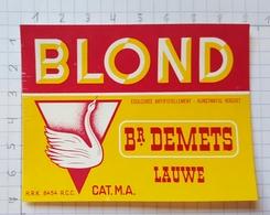 ETIQUETTE BROUWERIJ  DEMETS LAUWE BLOND - 1 - Beer