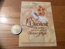 Etiquette Vin Suisse 1989 «OLLON - L'Oisemont - District D'Aigle - JEAN-MICHEL CONNE - CHEXBRES » (oiseau, Colombe - Red Wines
