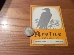 Etiquette Vin Suisse «Arvine - FERNAND AUBERT - CHAMOSON » (oiseau, Aigle) - Red Wines