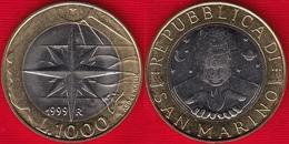 "San Marino 1000 Lire 1999 Km#395 ""Wind Rose"" BiMetallic UNC - Saint-Marin"