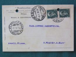 Italia 1938 Postcard Porto El Pidio Sent Locally - Both Stamps Damaged By Punch Hole - Non Classés