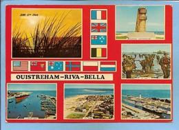 Ouistreham Riva-Bella 14 Monument Commémoratif Jour J 6 Juin 1944 Avant-port Plage 2scans Drapeaux 1979 Flamme - Ouistreham