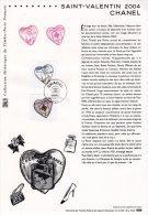""""""" SAINT-VALENTIN COEURS DE CHANEL"""" Sur Document Philatélique Officiel De 2004 N° YT 3632 3633. DPO - FDC"""
