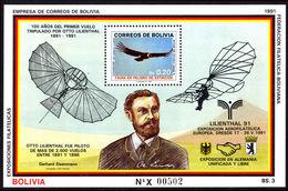 Bolivia 1991 Otto Lilenthal Souvenir Sheet Unmounted Mint. - Bolivia