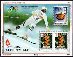 Bolivia 1990 Winter Olympics Hans-Jorg Tauscher Souvenir Sheet Unmounted Mint. - Bolivia