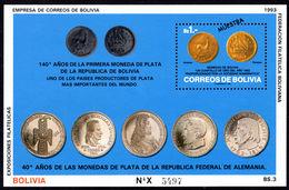 Bolivia 1993 Coins MUESTRA Souvenir Sheet Unmounted Mint. - Bolivia