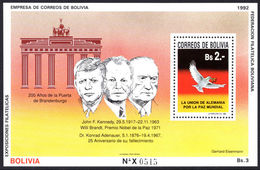 Bolivia 1992 Brandenburg Gate Souvenir Sheet Unmounted Mint. - Bolivia