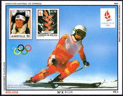 Bolivia 1990 Olympics, Maria Walliser Souvenir Sheet Unmounted Mint. - Bolivia