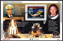 Bolivia 1993 Hermann Oberth MUESTRA Souvenir Sheet Unmounted Mint. - Bolivia