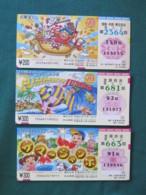 Japan - 3 Lottery Tickets - Comics - Ship Fish Dog - Billets De Loterie