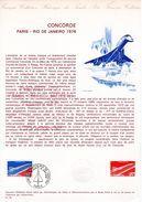 """"""" CONCORDE 1ER VOL PARIS / RIO DE JANEIRO  """" Sur Document Philatélique Officiel De 1976  N° YT PA 49. Parfait état. - Concorde"""