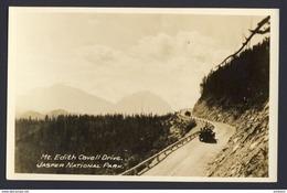 Mt Edith Cavell Drive Japer National Park - Alberta Canada - Vintage Convertible Cars  AZO C.1924-49 Real Photo Postcard - Jasper