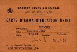 SOCIETE FIVES LILLE-CAIL..CARTE D'IMMATRICULATION USINE.... - Cartes