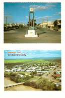 Australia, North Queensland (QLD), Flinders, Hughenden, Brodie Street Shops And An Aerial View, Postcards (x2) - Australia