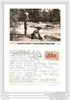 4133 AK /PC/CARTE PHOTO/997/P/ AFRIQUE/GUINEE/FEMME SEIN NU PRENANT DE L EAU DANS DES RAPIDES/NUE/1956 - Guinea Francese