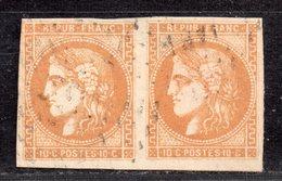 Emission De Bordeaux  N° 43Ba (Variété, Filet Brisé)  Avec Oblitération Losange En Paire Signé Brun  TTB - 1870 Bordeaux Printing