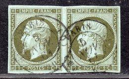 Napoléon III N° 11 Avec Oblitèration Cachet à Date En Paire  TB - 1853-1860 Napoléon III