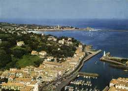 CPSM Grand Format CIBOURE  Vue Aérienne Le Port De Plaisance ,le Quai Ravel Et Dans Le Fond Soccoa  Colorisée   RV - Ciboure