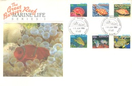 AUSTRALIA  - FDC - 18.6.1984 - THE GREAT BARRIER REEF FISH POISSONS VIS  - Yv 865-870 - Lot 18668 - Premiers Jours (FDC)