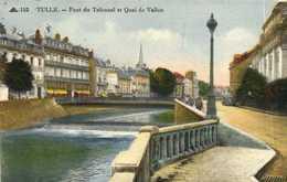 TULLE  Pont Du Tribunal Et Quai De Vallon Colorisée RV Timbre 1F50 Cachet CIP 24 - Tulle