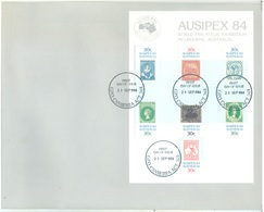 AUSTRALIA  - FDC - 21.9.1984 - AUSIPEX  - Yv MINISHEET 8 - Lot 18670 - Premiers Jours (FDC)