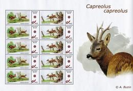 "Vel Met 2 X 5 Gegomde Zegels ""Capreolus"" André Buzin - 1985-.. Oiseaux (Buzin)"