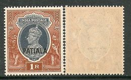 India PATIALA State 1Re KG VI Postage SG102 / Sc 115 Cat �18 MNH - Patiala
