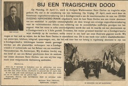 Avelgem: Moord Op Wachtmeester Remi Devloo (krantenknipsel 1938) - Documents Historiques