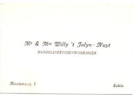 Visitekaartje - Carte Visite - Handelsvertegenwoordiger Willy 't Jolyn - Nuyt - Eeklo - Cartes De Visite