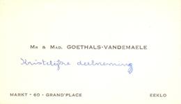 Visitekaartje - Carte Visite - Goethals - Vandemaele - Eeklo - Cartes De Visite